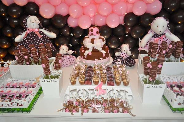 decoração festa infantil marrom e rosa